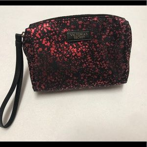 Victoria secret black and red cosmetic wristlet